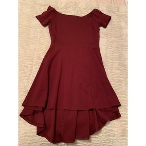SARIN MATHEWS Maroon High Low Dress